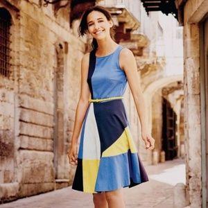 Boden Matilda Ponte Fit & Flare Color Block Dress